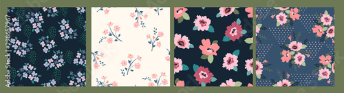 Floral abstract seamless patterns. Vector design for different surfases. - 298657967