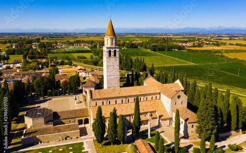 Aerial view of Aquileia with Basilica di Santa Maria Assunta Canvas Print