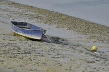 Baie De Somme Barque Bleue Posée Sur La Vase
