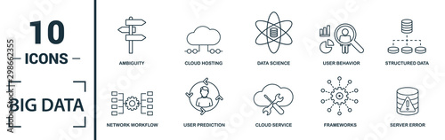 Big Data icon set Canvas Print