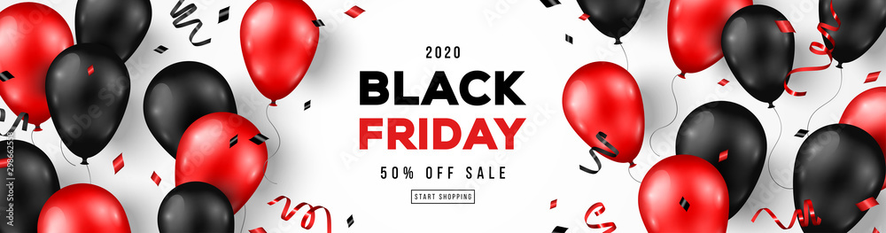 Fototapeta Black Friday Sale Horizontal Banner with Red and Black Shiny Balloons on White Background. Confetti and Place for text. Vector illustration.