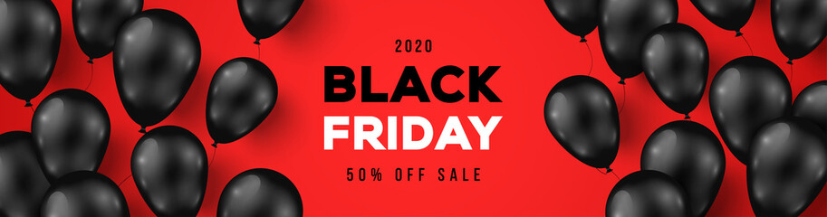 Black Friday Sale Horizontal Banner with Dark Shiny Balloons on Red Background with Place for text. Vector illustration.