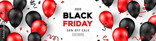 Fotografia Black Friday Sale Horizontal Banner with Red and Black Shiny Balloons on White Background