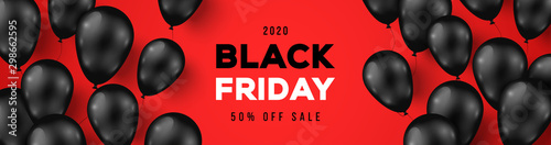 Carta da parati Black Friday Sale Horizontal Banner with Dark Shiny Balloons on Red Background with Place for text