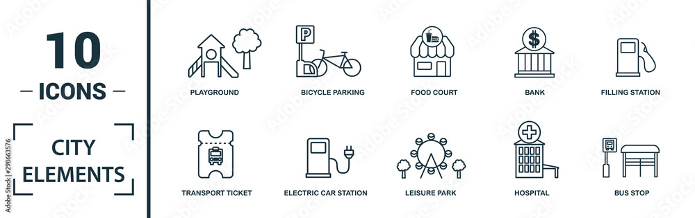 Fototapety, obrazy: City Elements icon set. Include creative elements restroom sign, public park, bicycle parking, hostel, playground icons. Can be used for report, presentation, diagram, web design