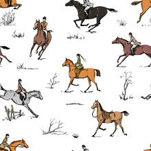 Equestrian Sport Fox Hunting With Horse Riders English Style On Landscape Seamless Pattern. England Steeplechase Tradition Bit, Saddle, Horse Riding Tool Isolated On White. Hand Drawing Vintage Vector