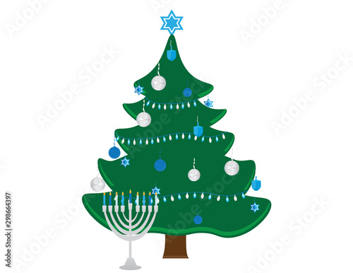 Photo  Hanukkah Bush with Blue White Decorations and Menorah with Blue White Candles on