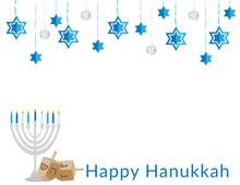 Blue White Hanging Ornaments, Hanukkah Menorah With Blue White Candles, Dreidels And Happy Hanukkah Text