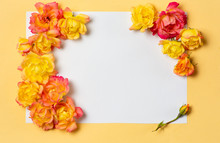 Yellow And Orange Roses Arrangement On Pastel Background