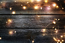 Christmas Light On Wood Background,