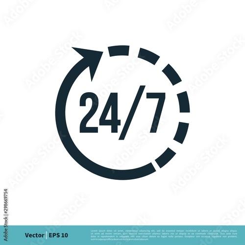 Fényképezés  24/7 Services Icon Vector Logo Template Illustration Design