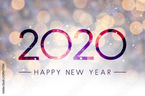 Obraz Blurred shiny Happy New Year 2020 background. - fototapety do salonu