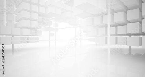 Abstract white architectural interior from an array of white cubes with large windows. 3D illustration and rendering. © SERGEYMANSUROV