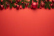 canvas print picture - Merry Christmas or New Year decoration red background
