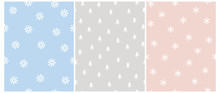 Cute Scandinavian Style Winter Vector Pattern With White Trees And Snowflakes Isolated On A Blue, Gray And Light Pink Background. Simple Pastel Color Winter Forest Vector Print And Snowy Sky Design.