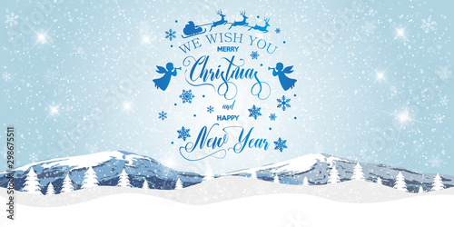 Foto auf Gartenposter Licht blau Merry Christmas and happy New Year. Christmas snow landscape on background of mountains. Vector illustration.