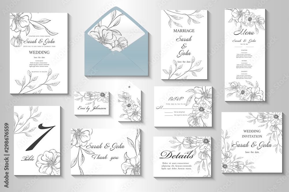 Fototapety, obrazy: Wedding invitation with flowers and leaves. Vector illustration.