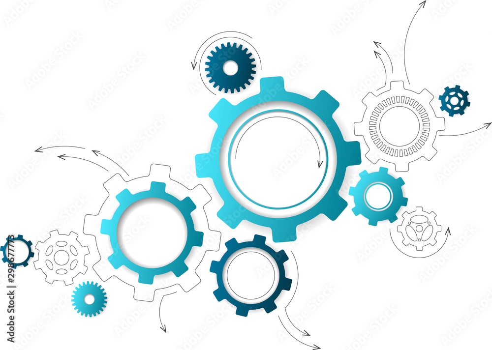 Fototapeta Connected cogwheels / gears icons - development, planning, technology concept, vector illustration