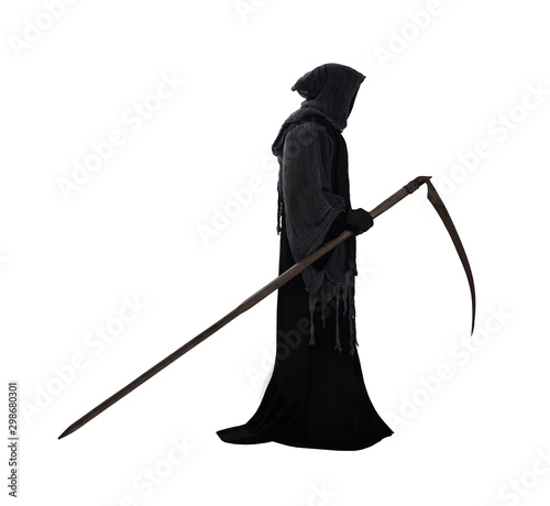 Fotobehang Londen Silhouette of a grim reaper isolated on white background