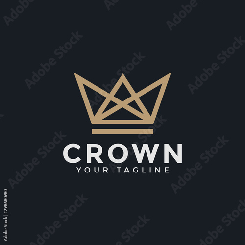 Abstract Luxury Crown Royal King Queen Line Logo Design Template Wall mural