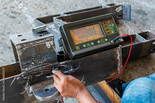 Step to Non-Destructive Testing(NDT) of welding with process Ultrasonic testing (UT) Wallpaper Mural