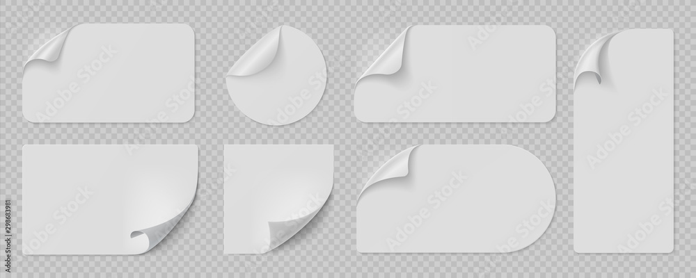 Fototapeta Curled pages and stickers. Round, square and rectangle flipped paper page, sticky banners with curled edges. Vector isolated illustration set blank template peel labels on transparent background