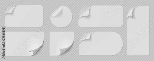 Obraz Curled pages and stickers. Round, square and rectangle flipped paper page, sticky banners with curled edges. Vector isolated illustration set blank template peel labels on transparent background - fototapety do salonu