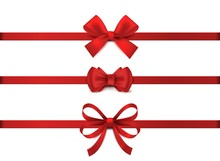 Red Realistic Bow. Horizontal ...