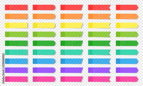 Fotomural  Set of colored realistic sticky notes isolated.