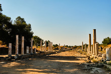 Ruins Of Ancient Street In Side, Turkey