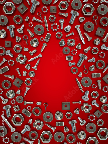 bolts, nuts, nails, screws, tools christmas tree red