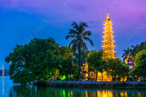 Tran Quoc Pagoda in Hanoi, Vietnam after sunset