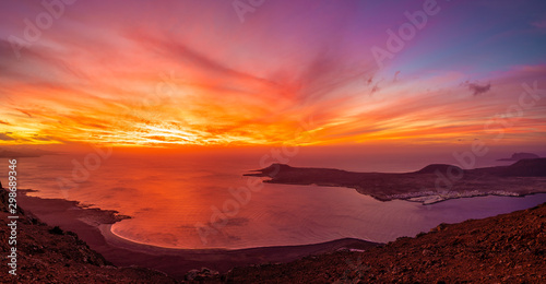 View at Atlantic ocean and La Graciosa islands at sunset, Lanzarote, Canary Islands, Spain