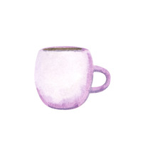 Purple Cup, Hand Drawn Waterco...