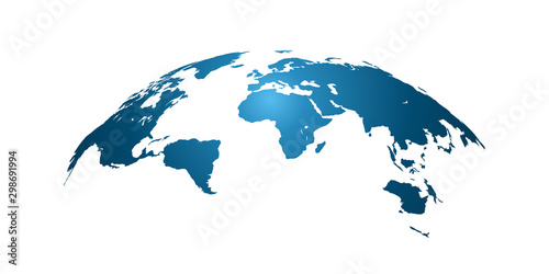 Fotografía  World map, detailed country map of the world, blue template for annual report fo