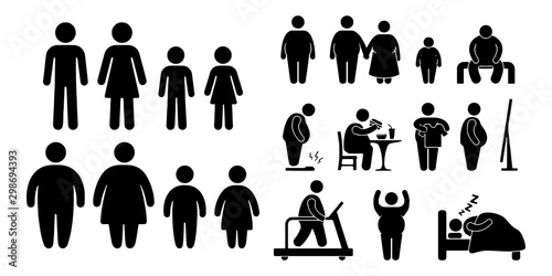 Pinturas sobre lienzo  Overweight people vector icons isolated on white background