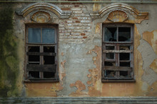 Windows Of An Abandoned Old House, 19th Or Early 20th Century, Voronezh, Russia.