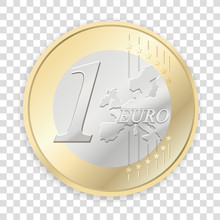 Euro Coins Isolated On Transpa...