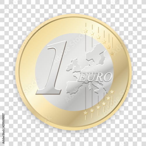 Fotomural Euro coins isolated on transparent background