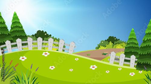 Montage in der Fensternische Lime grun Background design of landscape with green field in the park