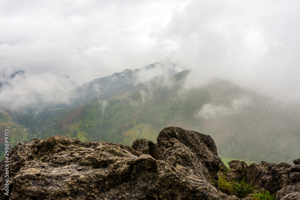 Rocky mountain in Polish Tatra mountains. Beautiful green forests.