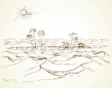 Mirage In The Desert. Vector D...
