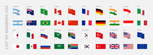 G20 Countries Flags. International Financial Summit Forum Meeting Flags Symbols. Isolated Vector Icons Set. G4, G7, P5, BRICS, MICTA