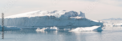 Global Warming and Climate Change - Icebergs and ice from melting glacier in icefjord in Ilulissat, Greenland. Aerial photo of arctic nature ice landscape. Unesco World Heritage Site. Panoramic banner