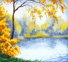 Watercolor Landscape. Lake In The Autumn Forest