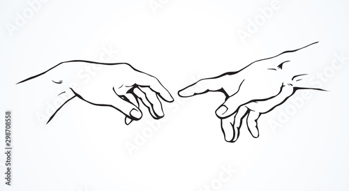 Photo Hands of the creation of Adam. Vector drawing