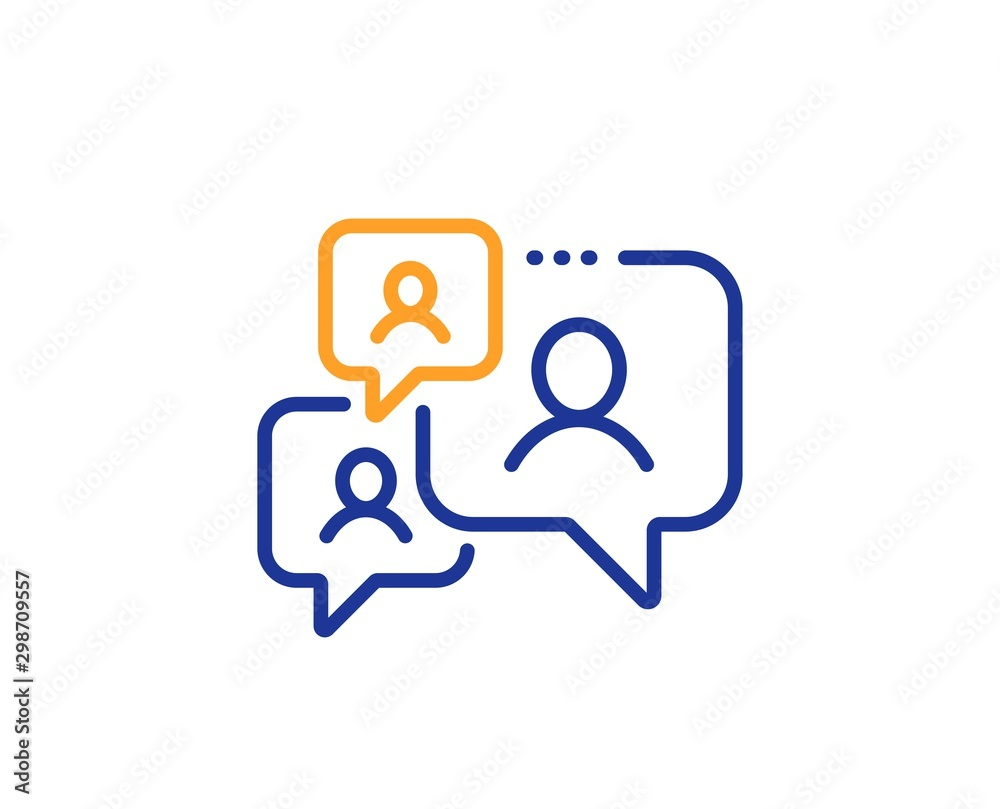Fototapeta Comments sign. Support chat line icon. Speech bubble message symbol. Colorful outline concept. Blue and orange thin line support chat icon. Vector