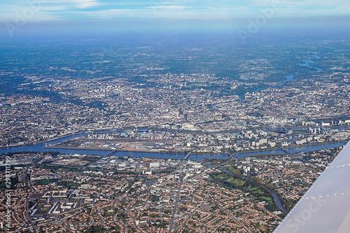 Photo nantes from plane view vue d'avion en france