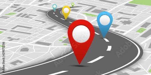 Canvastavla  Colorful navigation system concept