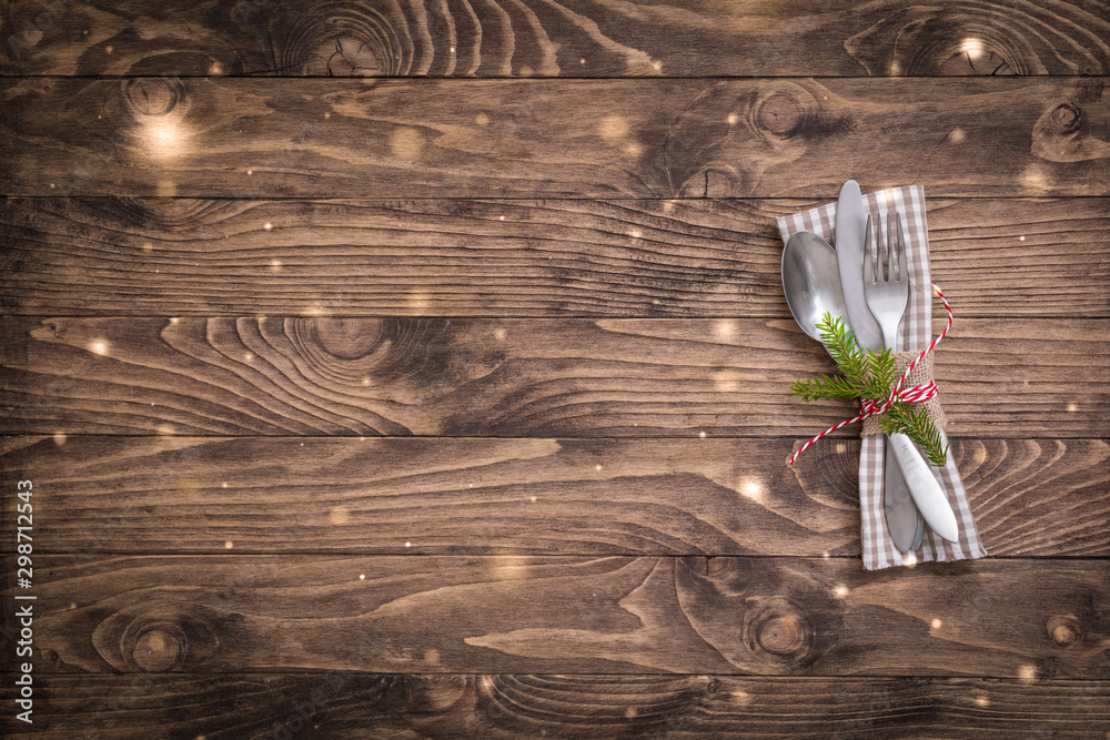 Fototapety, obrazy: Christmas table place setting with linen napkin on the wooden background